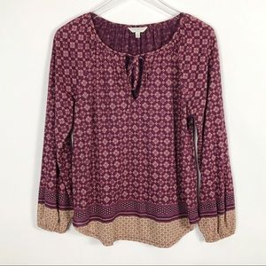 LUCKY BRAND Tie Neck Blouse Boho Vibes Small